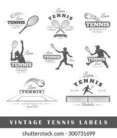 Set of tennis labels. Elements for design on the tennis theme. Collection of tennis symbols. Modern labels of tennis. Emblems and logos of tennis. Vector illustration