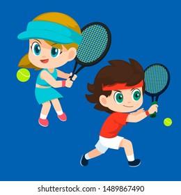 set of tennis player cartoons