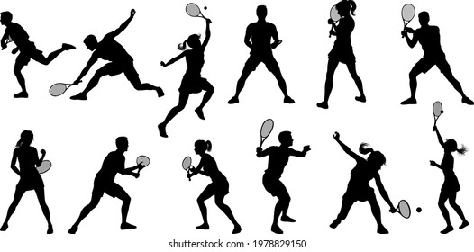 A set of tennis player man and woman silhouette sports people design elements