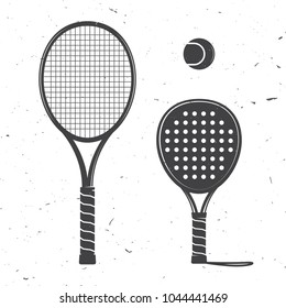 Set of tennis rackets and tennis ball icon. Vector illustration. Racquets silhouette on the white background.