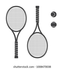 Set of tennis rackets and tennis balls. Vector illustration. Racquets silhouette on the white background.