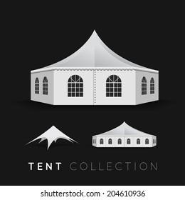 Set of tents. Vector illustration on dark background