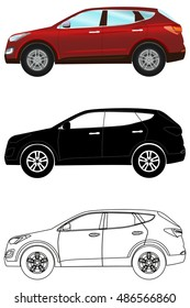 Set of terrain vehicles in flat style: colored, black silhouette, contour. Vector illustration