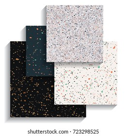 Set of terrazzo backgrounds, collection of seamless pattern, vector illustration