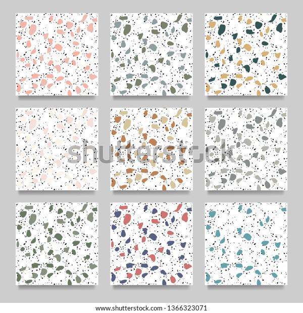 Set Terrazzo Flooring White Seamless Pattern Stock Vector