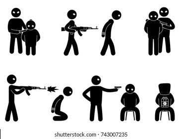 Set of terrorist and hostages people. Terrorist hostage threat. Terrorism world threat concept. Vector illustration.