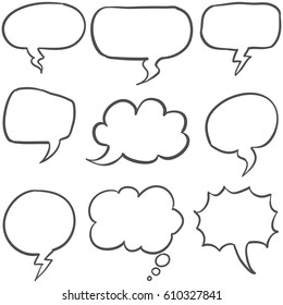 Set of text balloon style hand draw