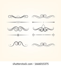 Set of text delimiters for your projects.Set elegant elements of design. Vector illustration.
