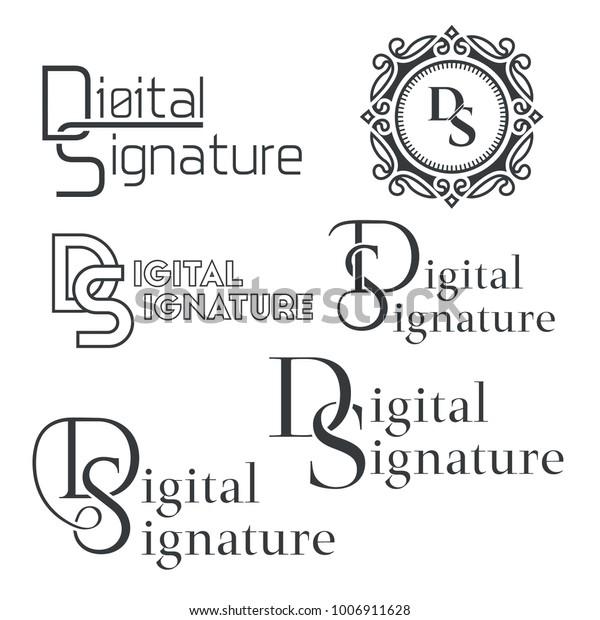 Set Text Logos Digital Signatureletters Ds Stock Vector