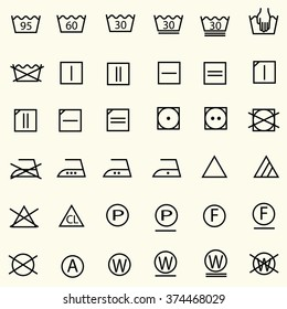 Set of textile care sign, laundry care icons, thin line design, vector