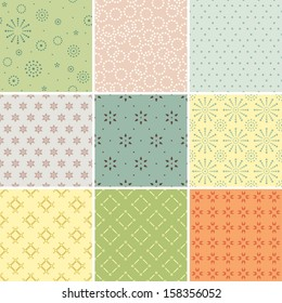 A set of textile / wallpaper seamless patterns. Two color used only.