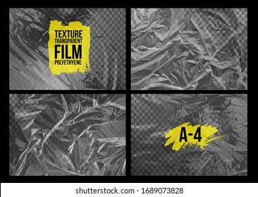 Set of texture A-4 transparent stretch film polyethylene. Design element graphic crumpled plastic wrap. Horizontal vector illustration. Isolated on black background.