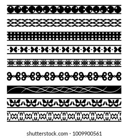 set of texture black and white geometrical ornament lines and borders