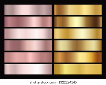 Set of texture gradation background in Gold rose, bronze, silver and gold foil . Vector golden elegant, shiny and metallic gradient collection for chrome border, frame, ribbon, label design - Vector