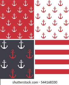 Set texture with a pattern on the marine theme: white anchors on a red background; red anchor on a white background; red and white anchors on a blue background; red and white stripes.