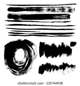 Set of texture strokes of black paint for your design vector