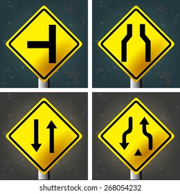 Set of textured backgrounds with traffic signals. Vector illustration