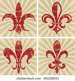 Set of Textured Grunge Fleur De Lys on Burst Background