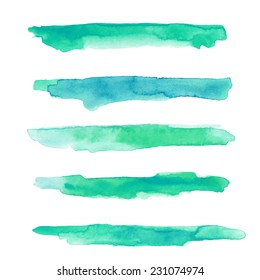 Set of textured watercolor strokes