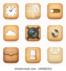 set of textured wooden paper and leather app icons on rounded corner square isolated eps10 vector illustration