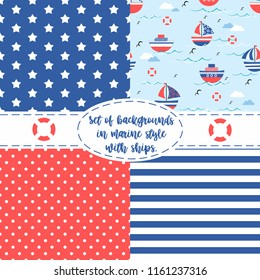 A set of textures. Seamless sea boats, stars,sea strip, circles, background, texture. vector illustration