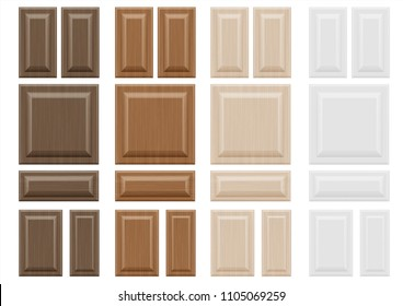 Set textures wooden furniture facades with a transparent blending effect. Diffuse light. Vector graphics. Texture for furniture and interior facades