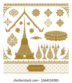 set of thai art, buddhism temple element and background pattern decoration motifs for flyers, poster, web, banner, and card concept vector illustration