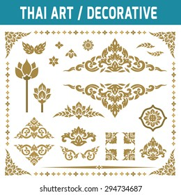 Set of Thai art element. Decorative motifs. Ethnic Art. Flat icon modern design style vector illustration Thai art concept.