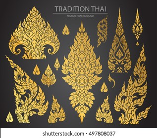 Set of Thai art element, Decorative motifs. Ethnic Art, icon vector