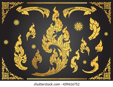 Set of Thai art element Ethnic Art vector
