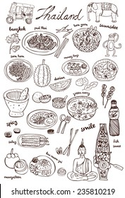 Set of Thai food and icons doodles, vector