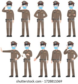 Set of Thai police in brown uniform with New normal life wearing a surgical protective Medical mask and goggles for prevent coronavirus. character pose front side turn around cartoon, Health care.