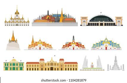 Set Thailand with attractions, landmark, vector illustration