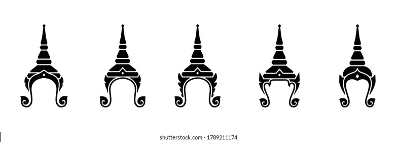Set of Thailand culture Chada crown icon isolated vector on white background
