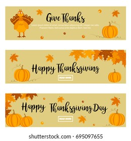 Set of Thanksgiving autumn, fall banners with turkey, foliage and pumpkins