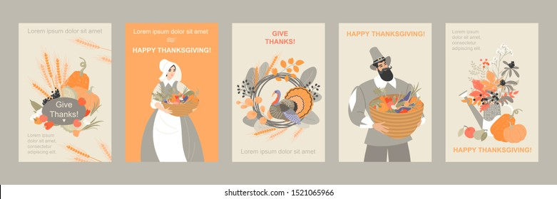 Set of thanksgiving banners with cute pilgrim characters and emblems from plants and vegetables and turkey. Cute vector images for design cards and flyers.