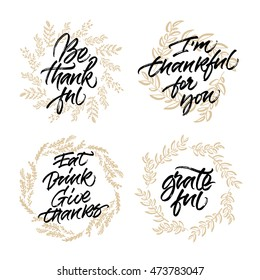 Set of thanksgiving cards. Handwritten ink calligraphy with autumn leaves wreaths.