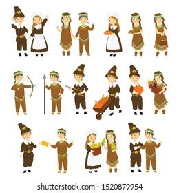 set of Thanksgiving cartoon characters. Thanksgiving pilgrims and natives couple character cartoon vector