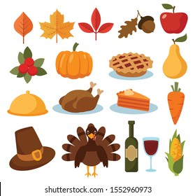 Set of thanksgiving cartoon icons. Collection of holiday elements with turkey, pumpkin, pilgrim hat and food. Happy Thanksgiving. Color illustration for a store.