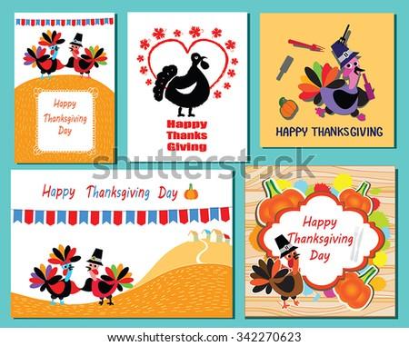 Set thanksgiving day greeting card turkeys stock vector royalty set of thanksgiving day greeting card with turkeys and greeting text collection of 5 thanksgivings m4hsunfo
