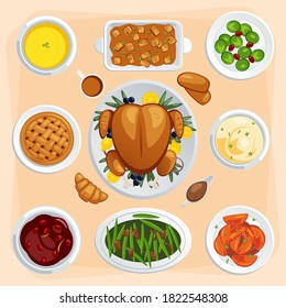 Set of Thanksgiving food  illustration. Roasted turkey, butternut soup, sweet pie, mashed potato, stuffing, brussels sprout, cranberry sauce, bread
