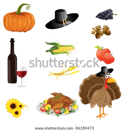 set thanksgiving icons stock vector royalty free 86189473