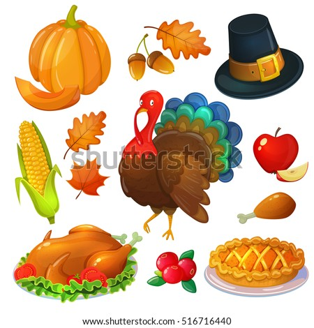 set thanksgiving icons colorful cartoon greeting stock vector