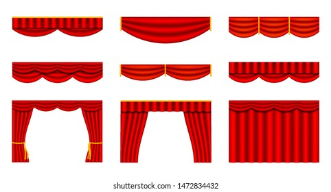 Set of theater curtains. Collection of interior decoration design. Vector illustration isolated on white background