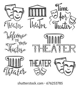 Set of theater icons, logos and emblems.