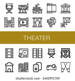 Set of theater icons such as Director chair, Home theater, Raffle, Film, Building, Theatre, Spotlight, Courthouse, Projector, Ticket office, Entertainment, Ticket, Directors chair , theater