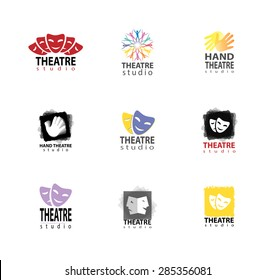 Set of theater studio logo design elements with hand and mask