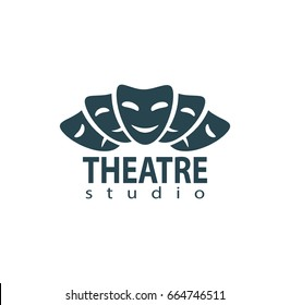 Set of theater studio logo design with comedy and dramatic mask