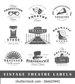 Set of theatre labels. Elements for design on the theatre theme. Collection of theatre symbols: mask, ticket, binocular. Modern labels of theatre. Emblems and logos of theatre. Vector illustration
