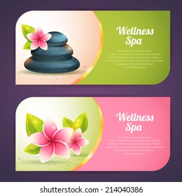 Set of thematical spa cards with realistic wellness items, pebbles and exotic flowes isolated